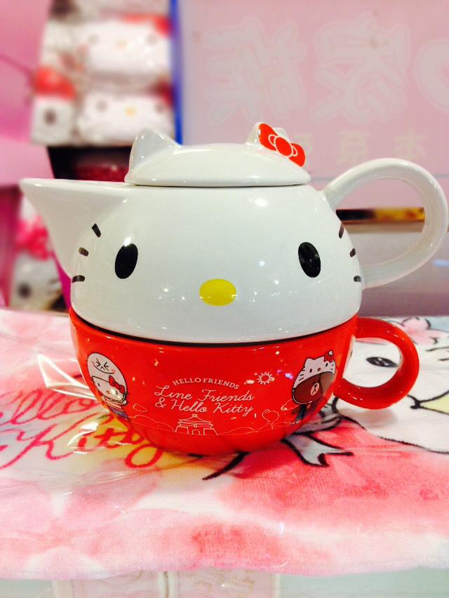 【真愛日本】16012800004 頭型下午茶杯壺組 KITTY 凱蒂貓 三麗鷗 茶壺 茶杯 7-11集點 2016
