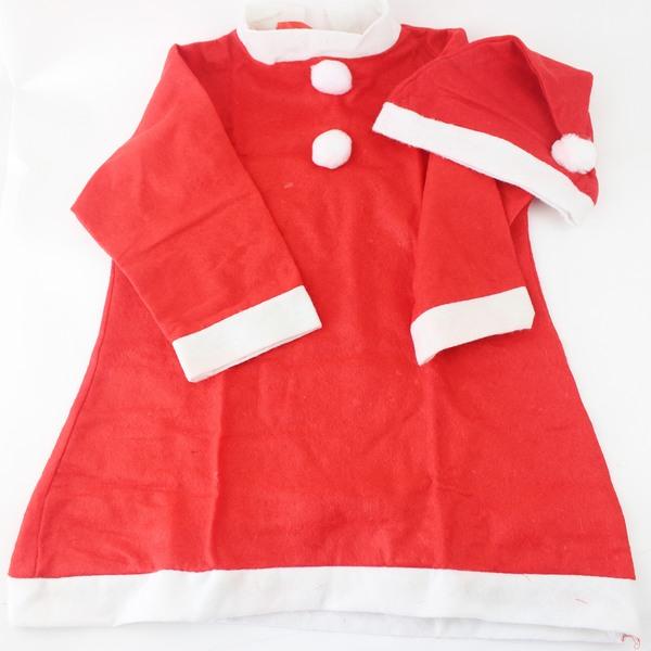 聖誕服.聖誕衣.聖誕老公公服裝.不織布2件套(小孩裝/女生)/一組入{促200}