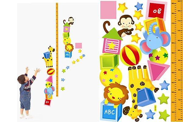 BO雜貨【YP1774】DIY可移動 創意牆貼/壁貼/身高貼/身高尺/可愛兒童房佈置 動物馬戲團
