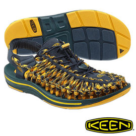 Keen Uneek 男 輕量護趾編織款拉繩涼鞋 8MM 深藍/黃 1013241