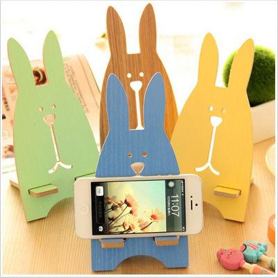 實用 支架 兔子 木頭 充電支架 收納 置物架 手機架 iPhone 三星 各手機通用 Sara Garden 【A0701031】
