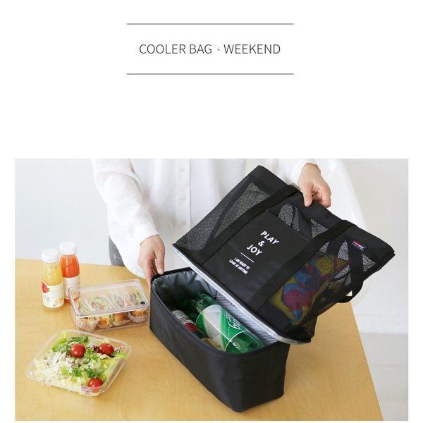 韓版手提單肩保溫包袋雙層野餐包男女運動網格收納包/單售