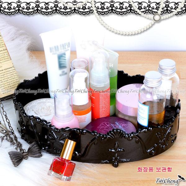 首飾盒『古典安娜蘇風格橢圓形化妝品收納盒』飾品收納箱桌面收納籃 MAKINO