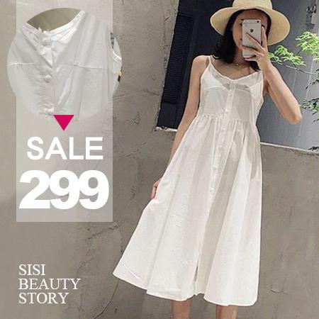 SISI【D6167】休閒清新簡約渡假風細肩吊帶修身中長款舒適棉麻連身裙洋裝