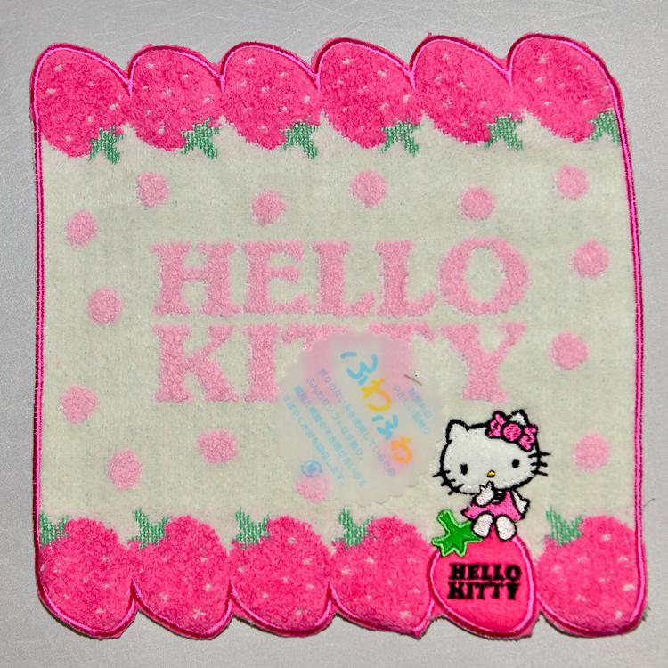 Hello Kitty 草莓手帕 小方巾 100%純綿 日本帶回正版商品