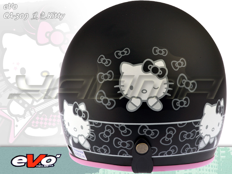 eVo安全帽_復古帽|Hello Kitty 消光黑 CA-309|【三麗鷗正版授權Hello kitty】耀瑪騎士生活