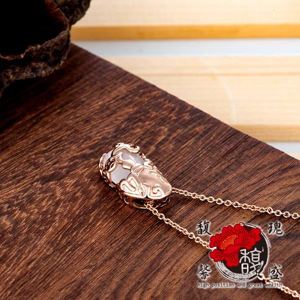 貔貅【玫瑰金貓眼石貔貅項鍊】 錢 鍍銀 水晶 情侶 招財 開運 含開光 馥瑰馨盛NS0250