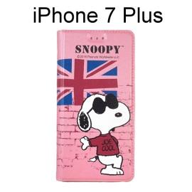 SNOOPY 彩繪皮套 [英國粉] iPhone 7 Plus 史努比【正版授權】