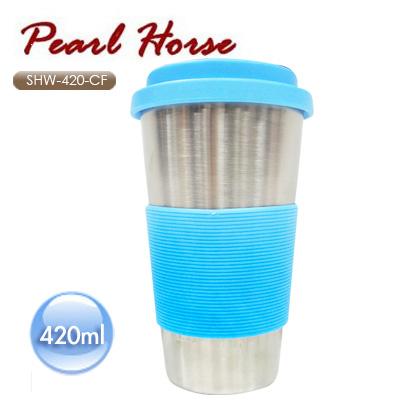 《PEARL HORSE》雙重咖啡杯 /SHW-420-CF/420ml/藍色