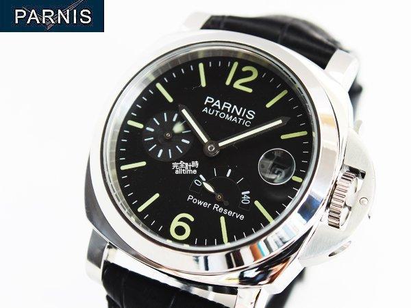 【完全計時】手錶館│PARNIS軍錶風格 動力儲存 上鍊機械錶 PA3007 經典款 鎖式龍頭 現貨