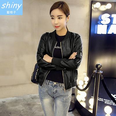 【V1222】shiny藍格子-帥氣呈現.百搭修身圓領拉鏈長袖皮衣外套