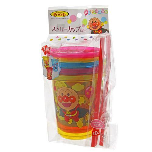 『日本代購品』 麵包超人防漏吸管杯 冰冷飲專用 3P入 日本製