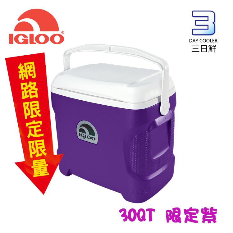 【限量款】IgLoo CONTOUR系列30QT冰桶49479 紫色 /城市綠洲專賣 (保鮮保冷、美國製造、露營、釣魚)