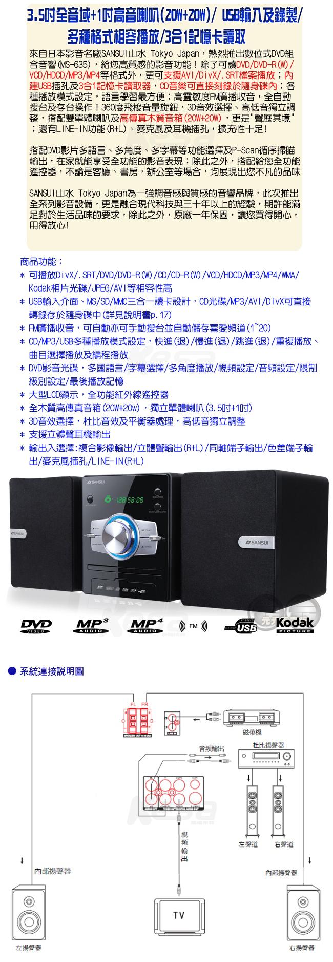 ~缺貨中~SANSUI山水 數位DVD/DivX/USB/3合1讀卡音響組 MS-635