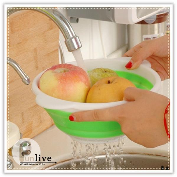 【aife life】伸縮瀝水籃/折疊瀝水籃/生菜沙拉碗/水果籃/多功能清洗籃/洗米籃/水果盤/