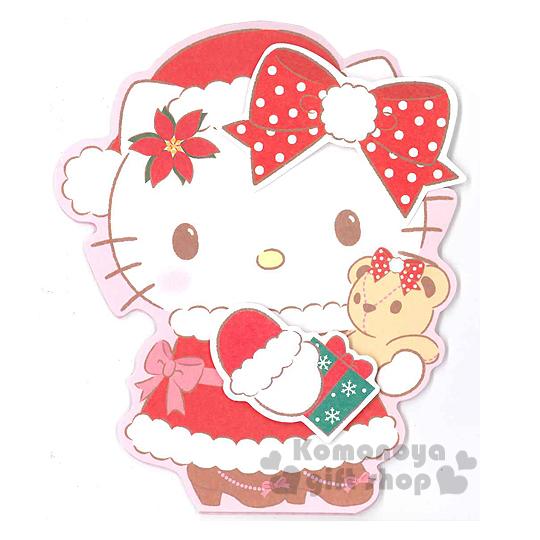 〔小禮堂〕Hello Kitty 造型立體聖誕卡片《紅白.聖誕裝.拿禮物.抱小熊》附信封