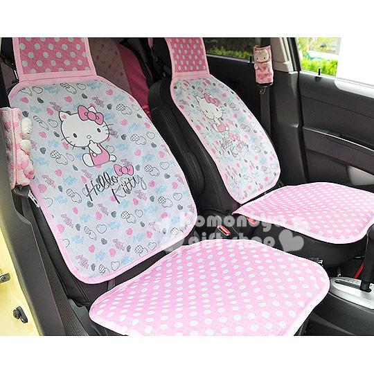 〔小禮堂〕Hello Kitty 汽車用椅套《單入.粉紅.點點.愛心滿版》輕鬆打造愛車佈置
