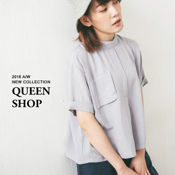 Queen Shop【01094078】立體假口袋後釦打褶造型上衣 兩色售*現貨+預購*