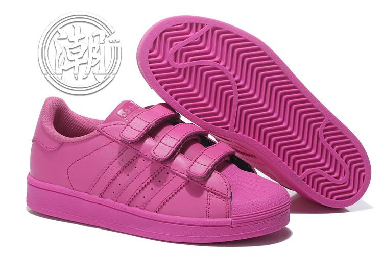 Adidas魔鬼氈 城市 亮粉 彩虹 經典 貝殼 街頭 限量 情侶鞋 余文樂 童鞋 大童鞋 學步 透氣百搭【T0092】潮