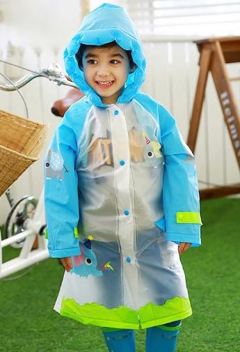Lemonkid◆正韓充氣帽檐小兔大象恐龍貓頭鷹動物款兒童書包位雨衣-藍色小象