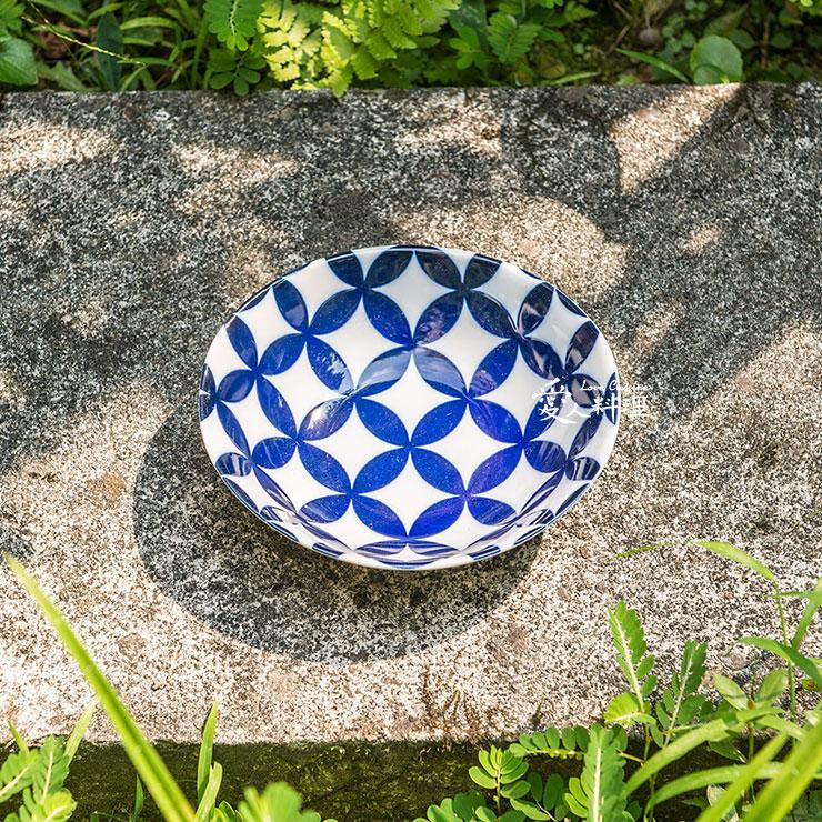 【進口食器】4.75台寸沙拉碗 (#004) (歐風幾何藍花紋)