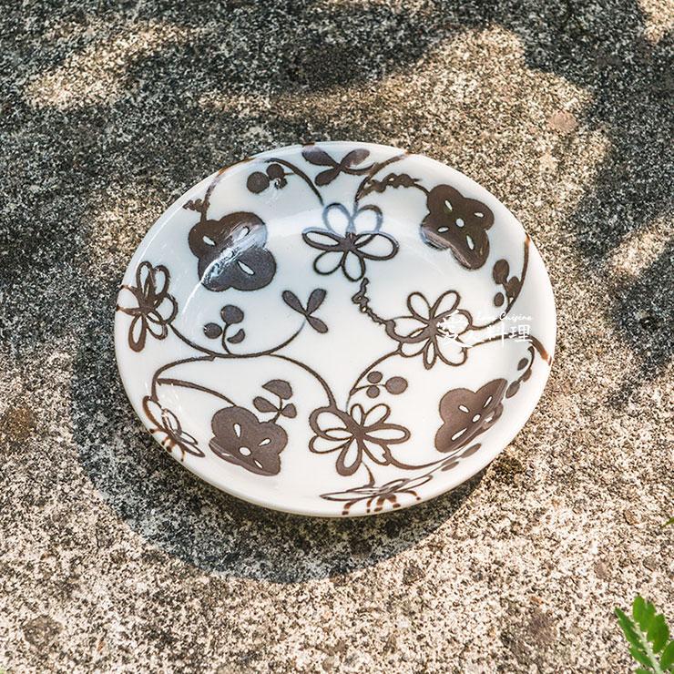 【進口食器】4台寸黑花淺盤 (#014) (小菜盤、醬料碟)