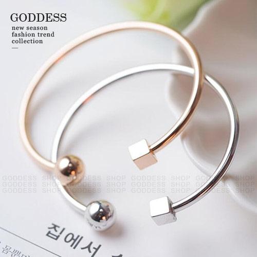 限時5折-嘉蒂斯飾品 時尚造型感方形圓形開口細手環【S0044】2色 現貨+預購