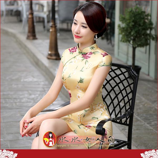 【水水女人國】~特價499元~平價旗袍風~昨日黃花。復古仿絲印花包袖改良式時尚短旗袍
