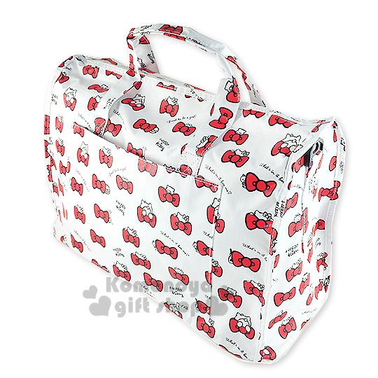 〔小禮堂〕Hello Kitty 可折疊斜背旅行袋《白.多紅蝴蝶結》可掛於行李箱桿上