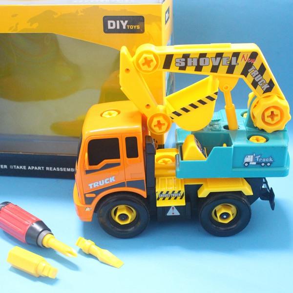 DIY可拆式組裝工程車 CF113128 摩輪怪手 挖土機7715/一台入{促350}