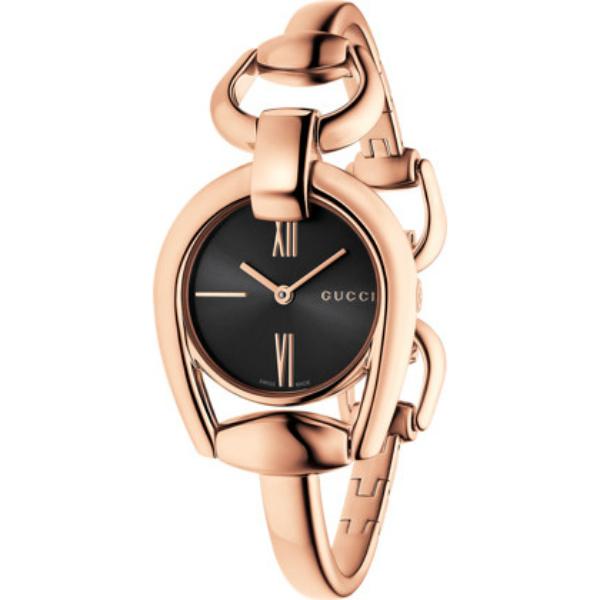 Gucci 古吉YA139507玫瑰金經典馬銜手環時尚腕錶/黑面28mm