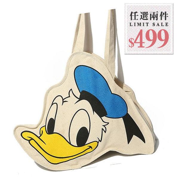 帆布側背包-迪士尼卡通唐老鴨大頭造型帆布包【AN SHOP】