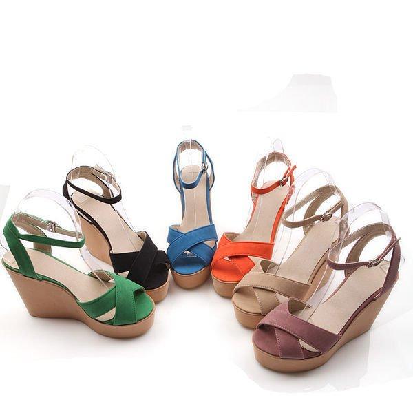Pyf ♥ 歐美風 交叉扣帶 高防水台楔型涼鞋 黑 藍 綠色 素面實搭款 42-43 中大尺碼女鞋