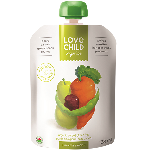 【Love Child】加拿大寶貝泥 嬰幼兒有機鮮萃生機蔬果泥 均衡寶系列- 西洋梨+紅蘿蔔+綠豆+黑棗