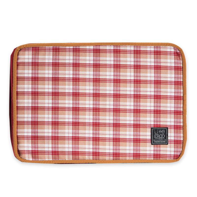 《Lifeapp》睡墊替換布套XS_W45xD30xH5cm (紅格紋)不含睡墊