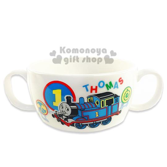 〔小禮堂〕湯瑪士小火車 日製雙把手陶瓷碗《白.車頭.朋友》日本金正陶瓷
