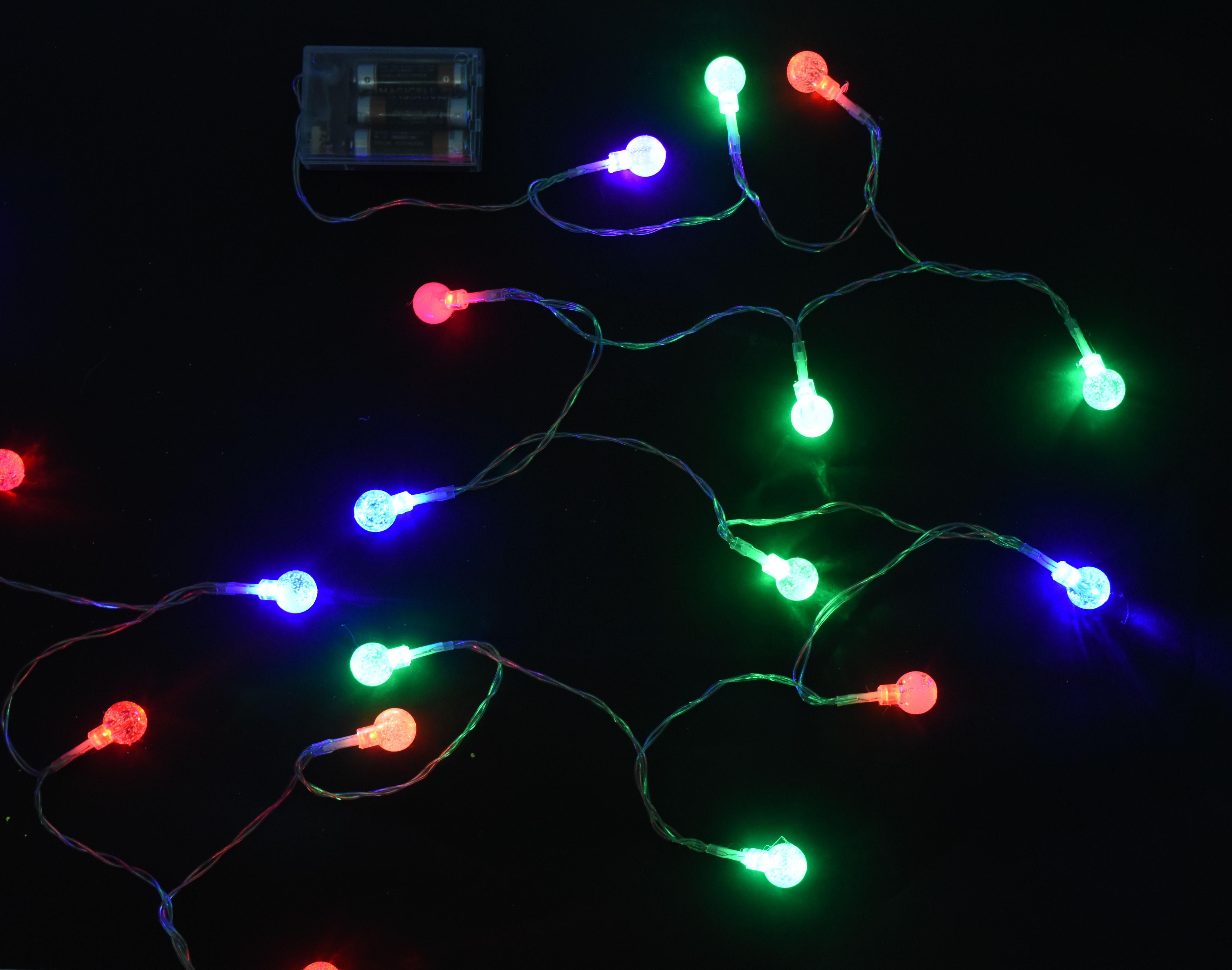 X射線【X411564】20燈LED水晶球電池燈(彩光),聖誕樹/LED/聖誕燈飾/造型燈/聖誕佈置/裝飾燈/聖誕樹