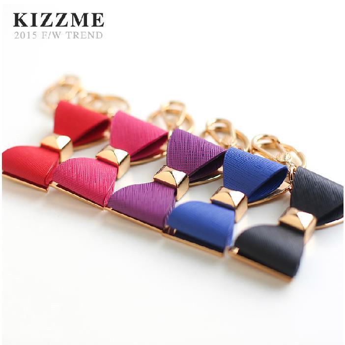 (喜番屋)KIZZME韓版真皮牛皮品牌訂製女士女孩蝴蝶結鑰匙圈鑰匙扣單肩 斜肩 斜背肩背側背手提包後背女包掛飾KI118