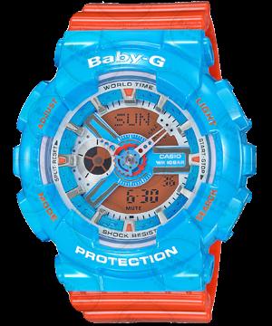 國外代購CASIO BABY-G BA-110NC-2A 藍橘 雙顯 防水 手錶 腕錶 情侶錶