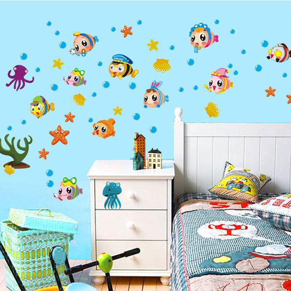 BO雜貨【YV0575】DIY可重複貼 時尚壁貼 牆貼壁紙 壁貼紙 創意璧貼 海底世界 泡泡魚 AY1933