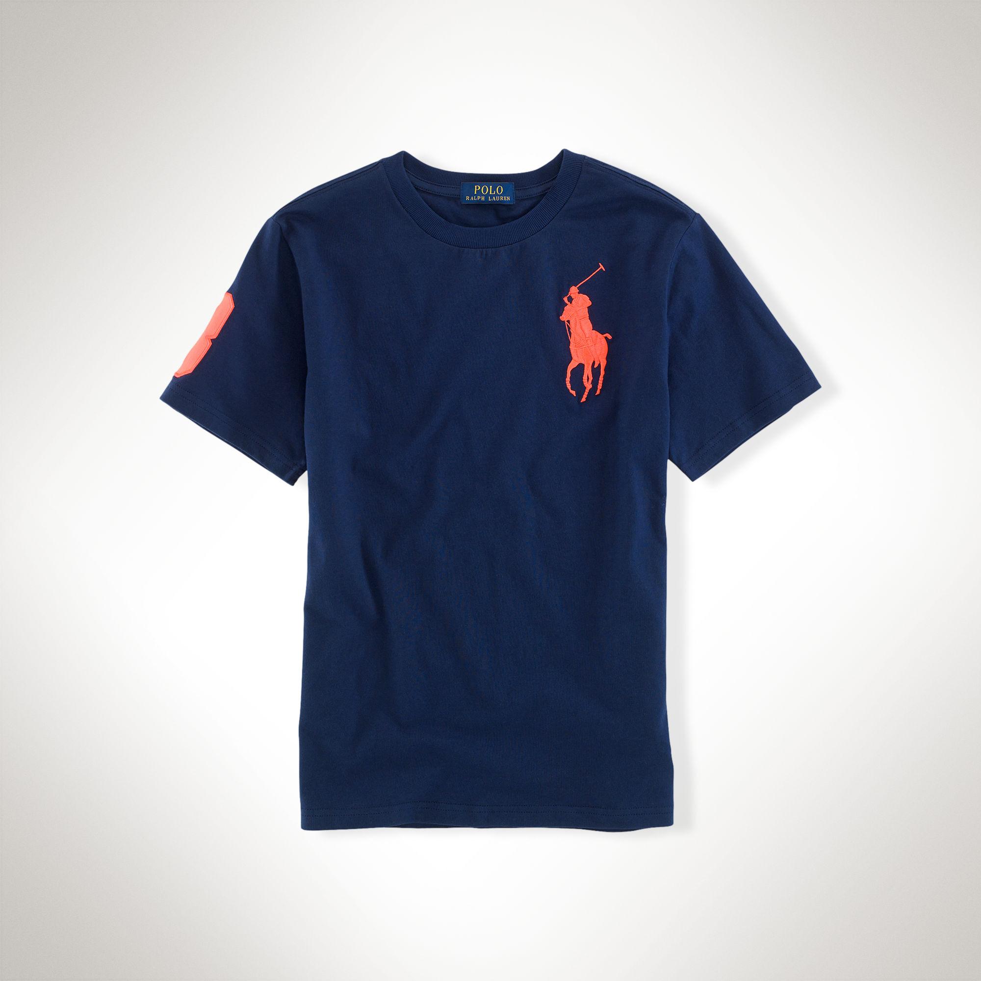 美國百分百【Ralph Lauren】T恤 男衣 RL 短袖 上衣 T-shirt Polo 大馬 深藍色 XS S號 E102
