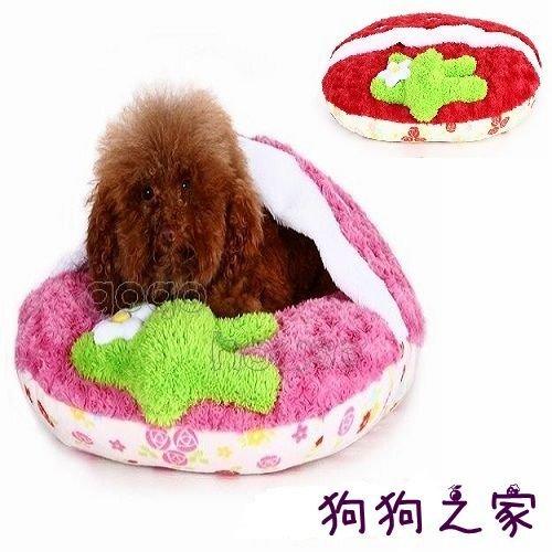 ☆狗狗之家☆草莓保暖睡袋 立體短絨毛 拖鞋造型 寵物窩 睡墊