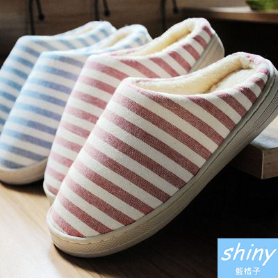 【X006】shiny藍格子-時尚簡約.冬季條紋男女加厚防水厚底全棉布保暖居家包鞋