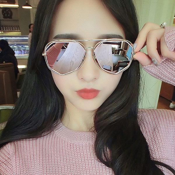 雙框七邊形 多角幾何 玫瑰金 粉紅 墨鏡 雷朋 金屬細框 大框反光 明星太陽眼鏡 正韓