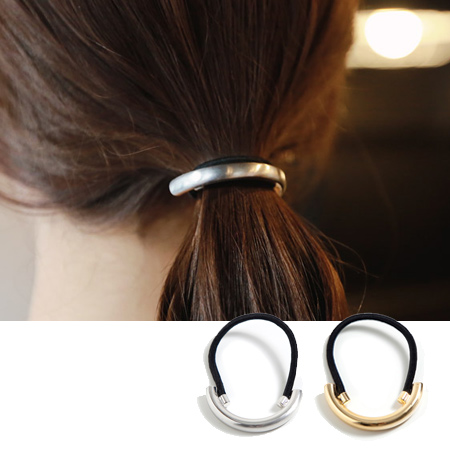 歐風極簡金屬風半圓髮束 髮飾 髮圈 髮繩 橡皮筋【N201587】