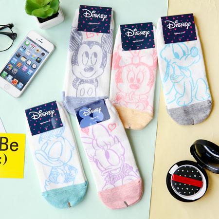 韓國 迪士尼系列線稿圖案短襪 襪子 造型襪 流行襪 迪士尼 米奇 米妮 唐老鴨 黛西 布魯托【B062494】
