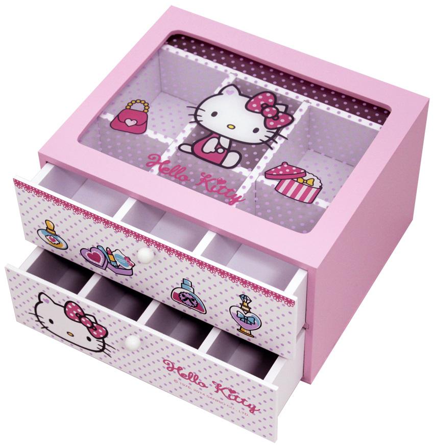 【真愛日本】15070900001 雙抽多格珠寶抽屜盒-珠寶 預購 三麗鷗 Hello Kitty 凱蒂貓   收納盒