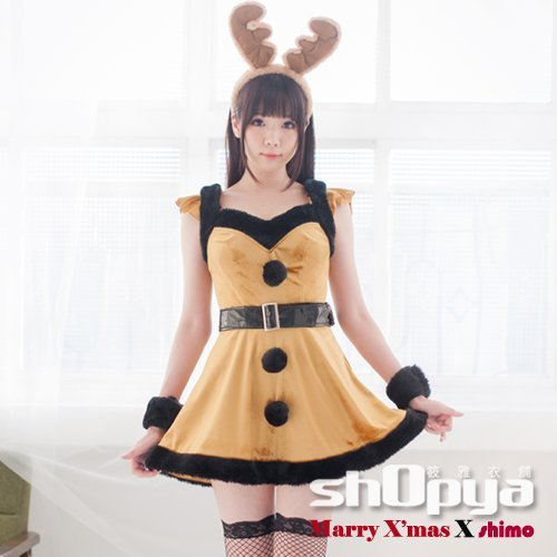 卡哇伊麋鹿造型聖誕服 動物造型服裝送黑色蕾絲膝上襪 COSPLAY 攝影寫真 筱雅衣舖【BT1020】