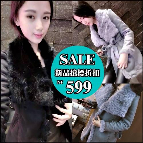 ☆克妹☆現貨+預購【AT32559】歐美名媛奢華風麂皮絨仿狐狸毛毛厚款長大衣外套