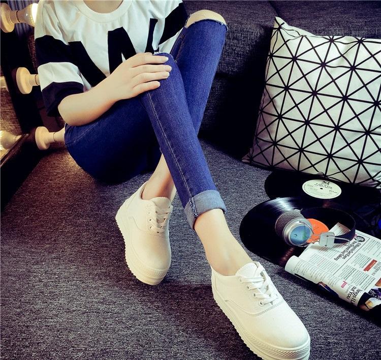 2017新款低筒韓國東大門款小白鞋厚底歐美帆布鞋女鞋韓版休閒鞋學生款布鞋多色